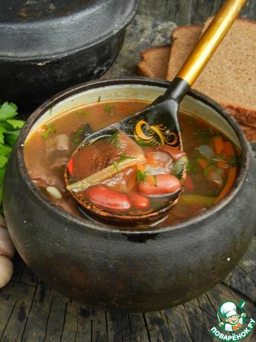 Суп с фасолью и грибами – кулинарный рецепт