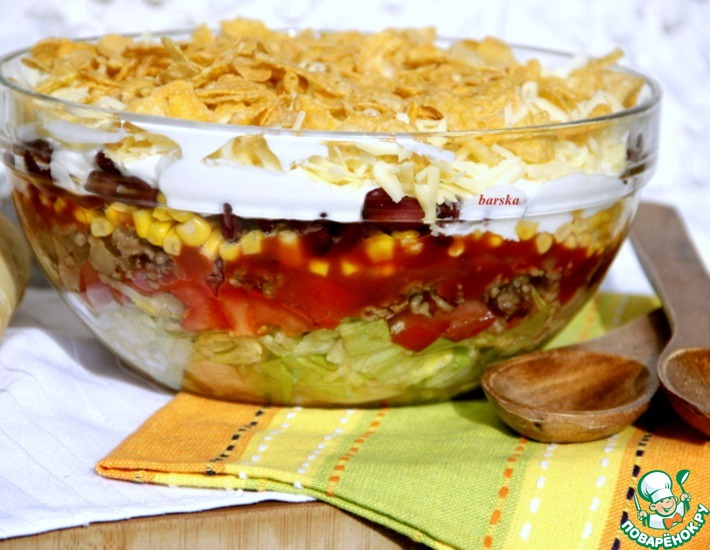 Рецепт: Мексиканский слоеный салат