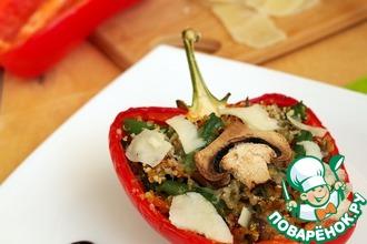 Рецепт: Фаршированный перец с киноа, овощами и грибами