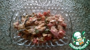 Рецепт Жареные баклажаны с помидорами под майонезом
