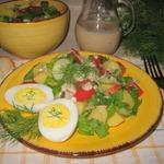 Картофельный салат с соусом из ряженки