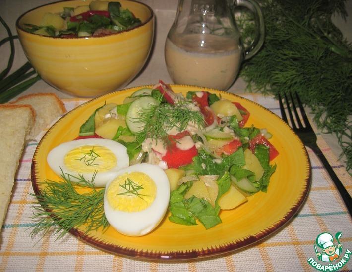 Рецепт: Картофельный салат с соусом из ряженки