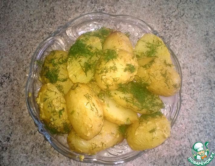 Рецепт: Запечённый молодой картофель с горчицей в мультиварке