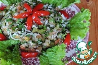 Рецепт: Салат Дачный с печеными овощами и рисом