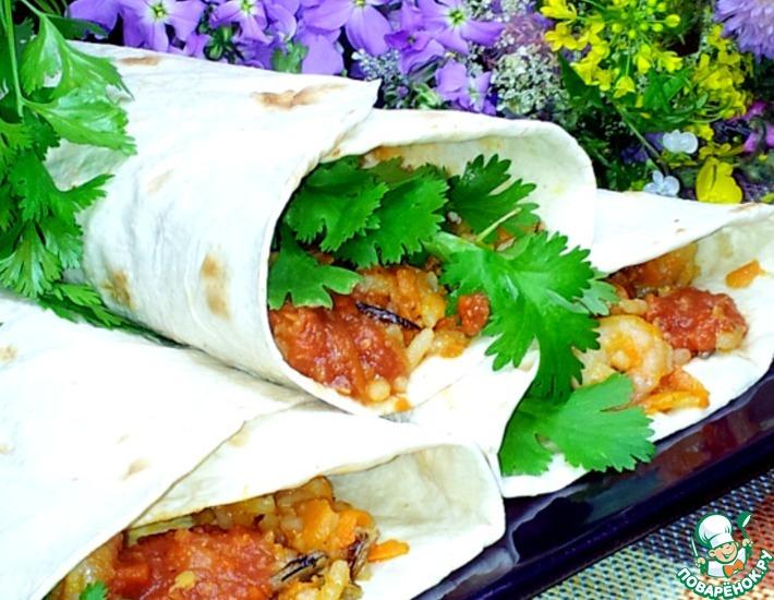 Рецепт: Кулёчки с диким рисом и креветками