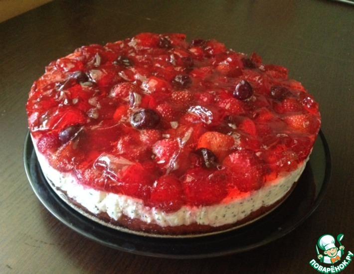 Рецепт: Творожно-ягодный торт Летнее лукошко