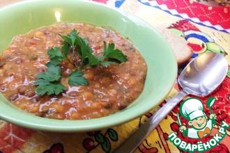 Рецепт: Густой горохово-чечевичный суп со свеклой