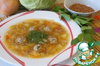 Рецепт: Гречневый суп с капустой и фрикадельками