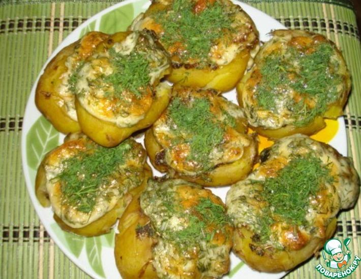 Рецепт: Запечённый картофель с ароматной шляпкой