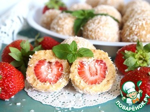Sand-cheese balls with strawberries