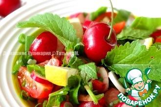 Рецепт: Горчичный салат с черешней и миндалем