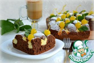 Рецепт: Шоколадно-ореховый пирог с творожным кремом