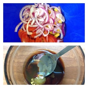 Squeeze the onions from the marinade and add to the salad. To make the dressing: mix oil, soy sauce, honey and balsamic vinegar. Mix well and season the salad, mix well.