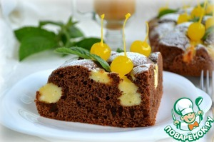 - Sprinkle with icing sugar, decorate with canned cherries and mint leaves.   BON APPETIT!