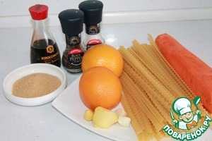 All the necessary ingredients. Carrots, garlic and ginger peeled.