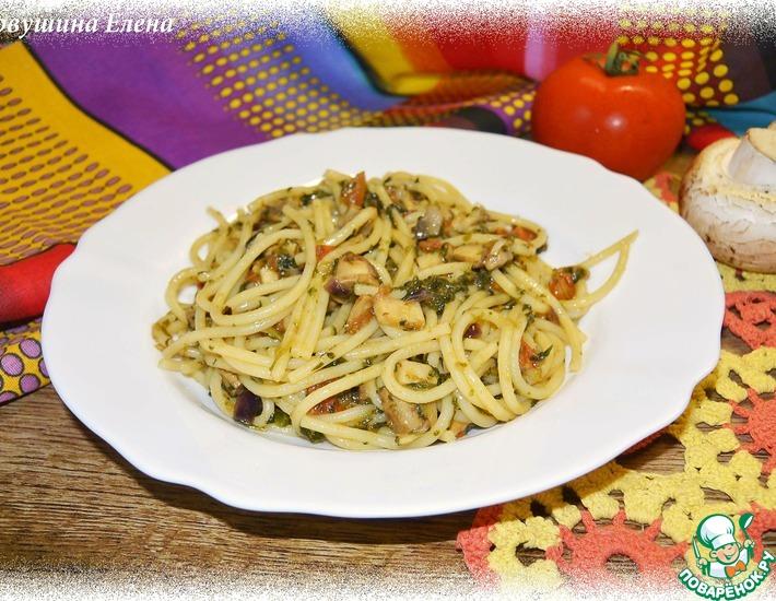 Рецепт: Спагетти с грибами и шпинатом