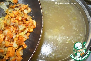 When the rice is almost done (still will be slightly crisp), add the browned vegetables and potatoes.