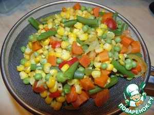 Овощной бульон слить в отдельную посуду, добавить специи для курицы, чтобы напоминало мясо)))