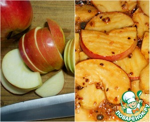 Remove the core from apples and chop them into slices. Put apples into a pan with 100g sugar and the orange zest. Caramelizes to a beautiful Golden color.