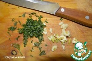 Greens chop, garlic cut into thin rings and