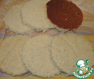 Biscuits cut out circles of suitable diameter (about 13cm) and each cut into 3 layers.