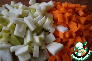 Apple and pumpkin cut into small cubes.