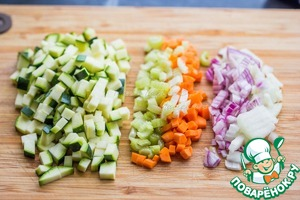 All the vegetables cut into small cubes. Onions, carrots, celery a little smaller, a little more zucchini