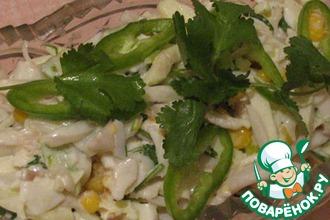Рецепт: Салат с кальмарами и яблоками
