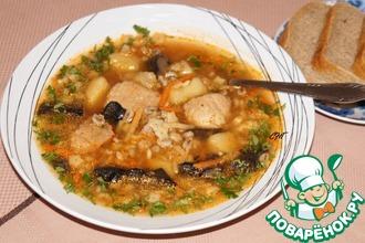 Рецепт: Швабский суп со свининой и перловкой