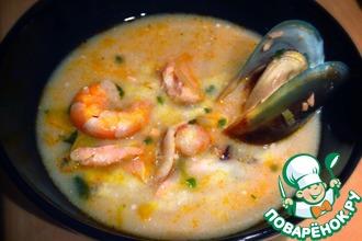 Рецепт: Cливочный рыбный cуп с морепродуктами
