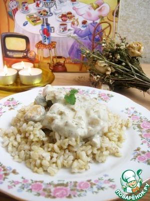 """Рис """"Кубань"""" от Мистраль, по-моему, восхитительно сочетается с различными сырными и сливочными соусами. Добавьте к рису соус с мидиями. Можно добавить немного зелени по вкусу."""