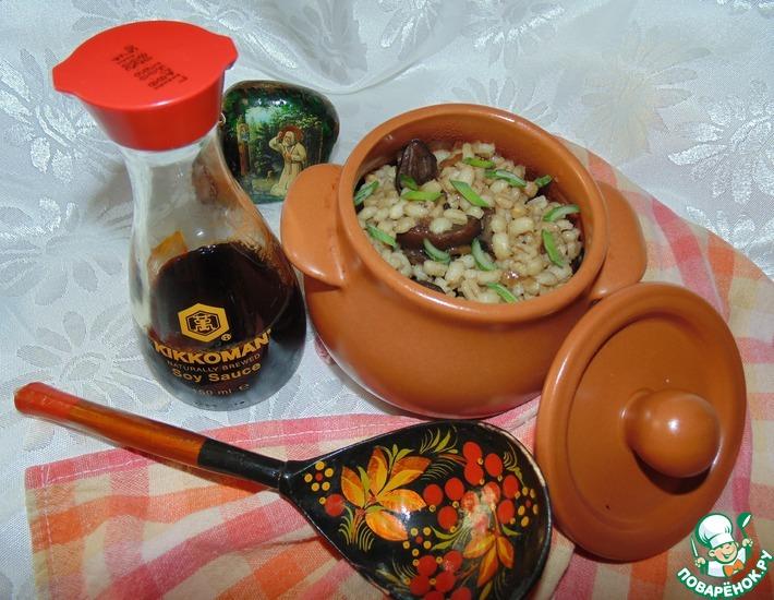 Рецепт: Перловка с грибами в соевом соусе