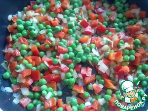 Add green peas and fry all together for another 3 minutes.