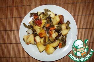 Рецепт: Запеченный картофель со стручковой фасолью