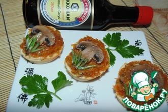 Рецепт: Пикантная кабачковая икра с шампиньонами