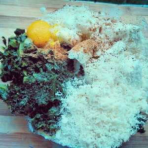 В первую очередь отварить шпинат/15 минут/, дать ему остыть.   порезать мелко шпинат, добавить яйцо, творог, сыр. добавить по вкусу соль, перец, мускатный орех.    перемешать.    начинка для равиоли готова.