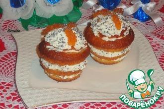 Рецепт: Слоеные кексы с творожно-яблочной начинкой