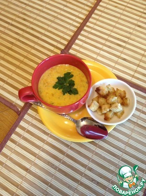 The soup looks quite thick. Pronounced carrot flavor.  Suitable for baby food (provided that you are not allergic to the ingredients), if in a blender into a puree. (only instead of fried potatoes use boiled and less spices or no, depending on how accustomed your baby) Bon appetit!