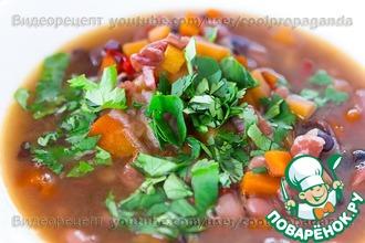 Рецепт: Густой острый фасолевый суп с беконом