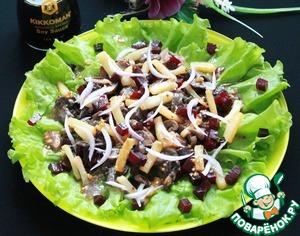 Лук нарезаем перьями. На тарелку выкладываем листья салата. По желанию можно их просто порвать. Затем произвольно свеклу, грибы, картофель и лук. Поливаем все заправкой.