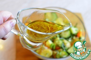 The resulting sauce pour the salad, mix and immediately warm to bring to the table. Incredibly delicious! Help yourself!