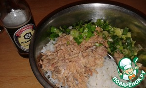 For the filling, mix rice, salmon and chopped green onions