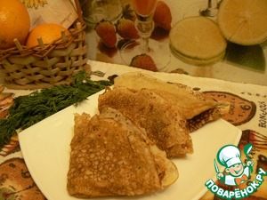 The filling is spread on the pancakes and fold as desired. Bon appetit!