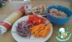 Vegetables and breast, cut into thin strips, mushrooms cut
