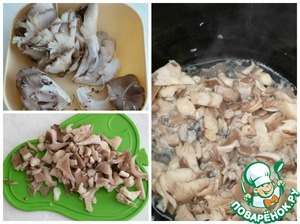 """The mushrooms thoroughly washed and cut into pieces and sent to obzhivatjsya, I use a slow cooker, you can cook everything in the same casserole. Set the mode to """"Fry"""" for 15 minutes."""