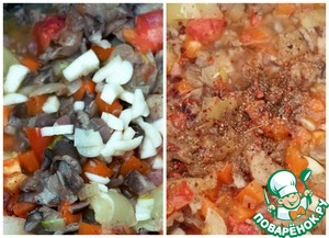 Salt, add spices and chopped garlic.
