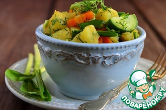 Рецепт: Теплый картофельный салат с черемшой