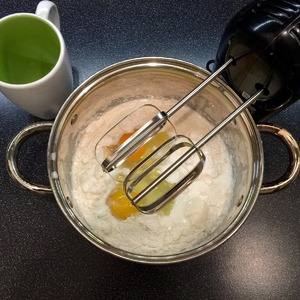 Milk, eggs and flour blend. Well whisk. The better we do, the more magnificent will be our pudding and the better it rises.
