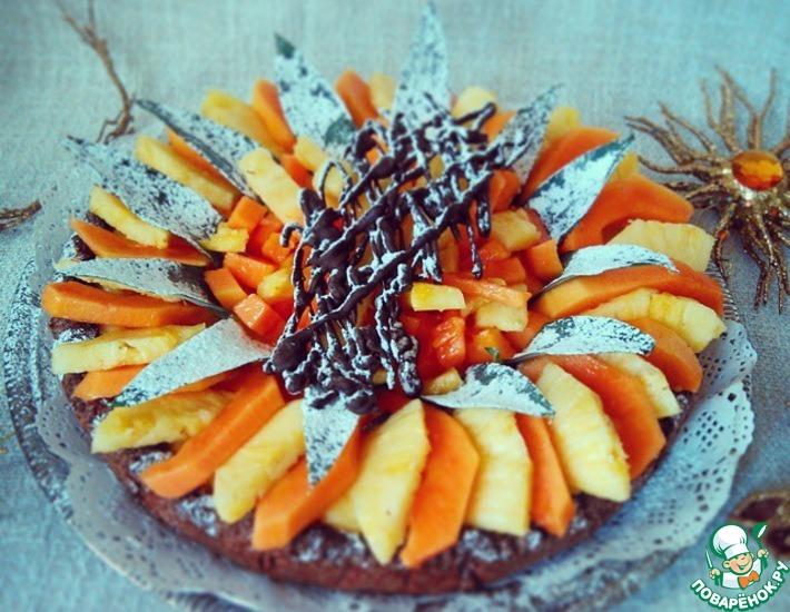 Рецепт: Шоколадная кростата с ананасом и папайей