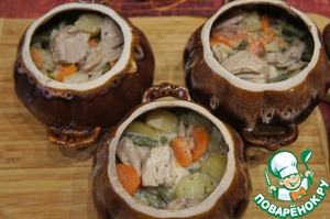 Distribute the chicken with the vegetables. Allow to cool slightly.